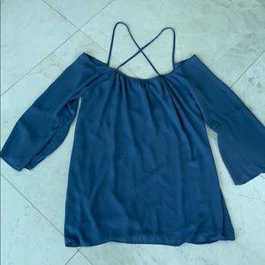 Blue, long sleeved open back shift dress